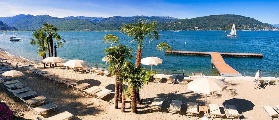 inziges Hotel am Lago Maggiore mit privatem Strand.